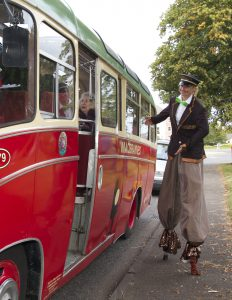 Vintage Bus and conductor