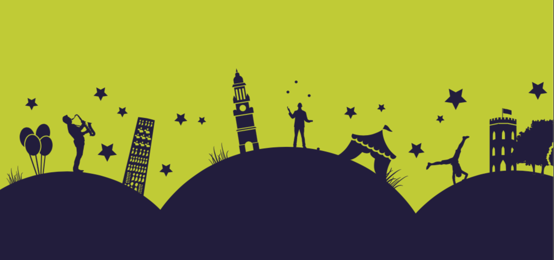 Illustration of silhouetted street performers on hills.