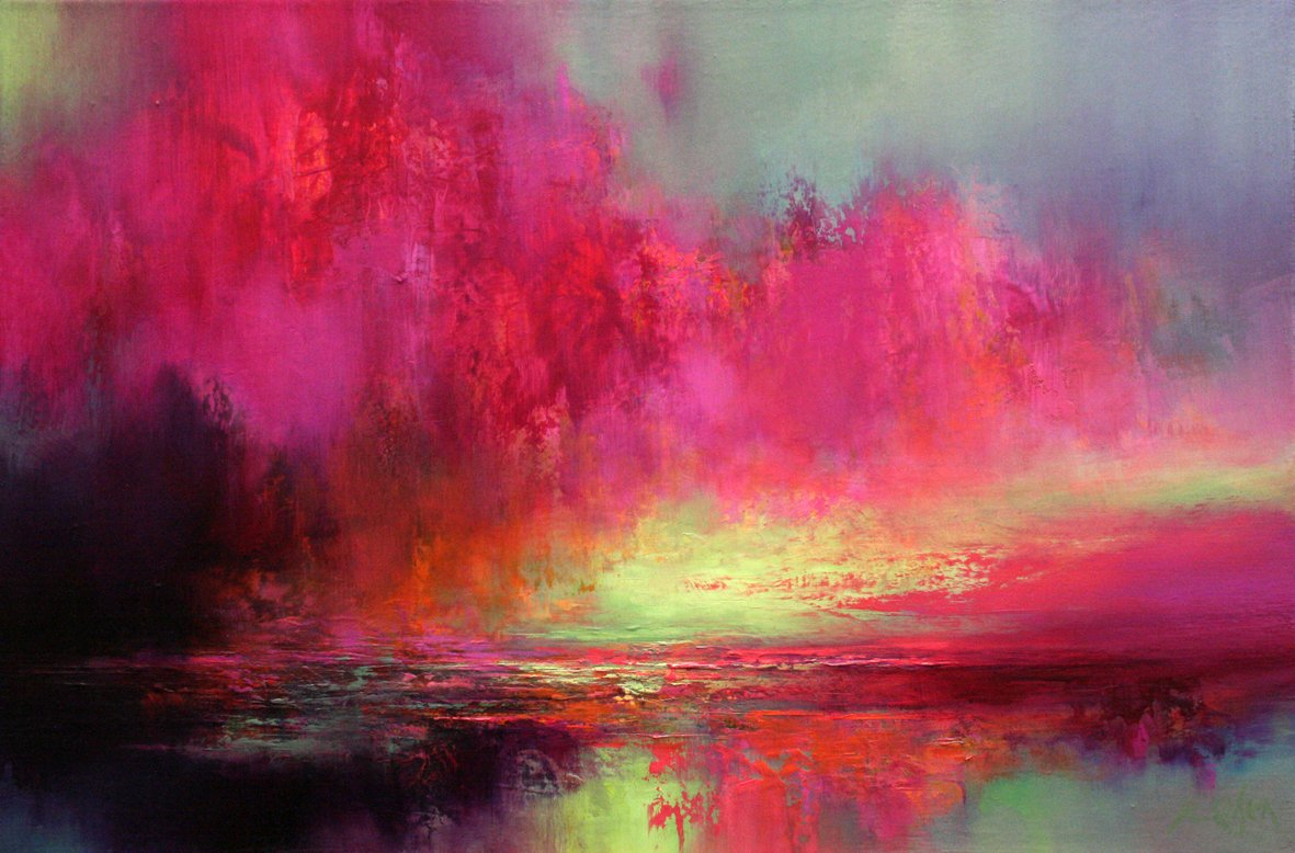 Oil painting of dramatic pink and yellow sky over sea.